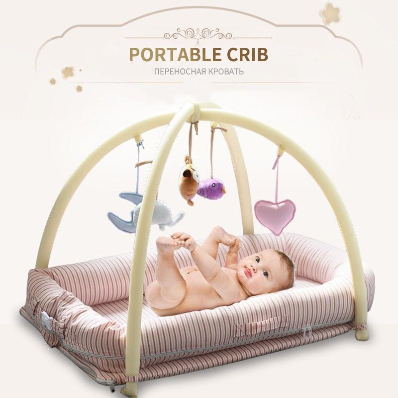 0~3Y Portable Bed Cotton Gauze Bed  Baby Bed Kids  Newborn Baby Sleeping Bed Cradle Bed Playpen Baby Crawl