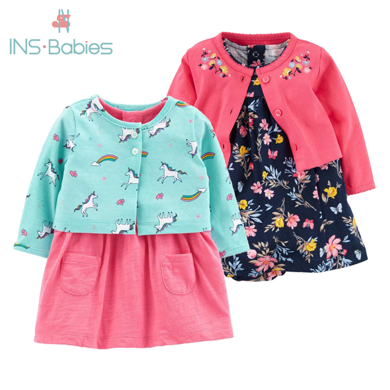 2 Pieces Set 2020 New Baby Girls Flower Dresses Cotton Jumpsuits Girls Fashion Spring Autumn Clothes  Newborn Baby Girl Roupa