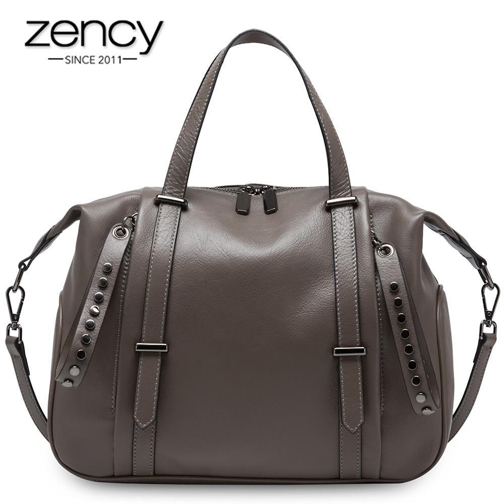 Zency Large Capacity Women Tote Handbag 100% Genuine Leather Fashion Lady Shoulder Bag Crossbody Bags Black High Quality