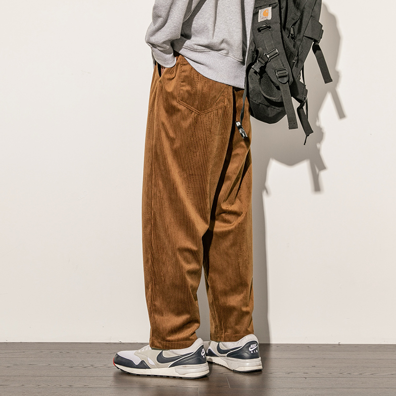 Plain Color M-5XL Loose Fit Vintage Pants Streetwear Casual Wide Leg Pants For Man Fashion Japanese Style Corodory Trousers Male
