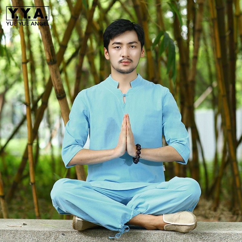 Summer Loose Fit Vintage Meditation Kung Fu Tracksuit Men Breathable Cotton Linen 2pcs Jogging Set Casual Outfits Clothes Suits