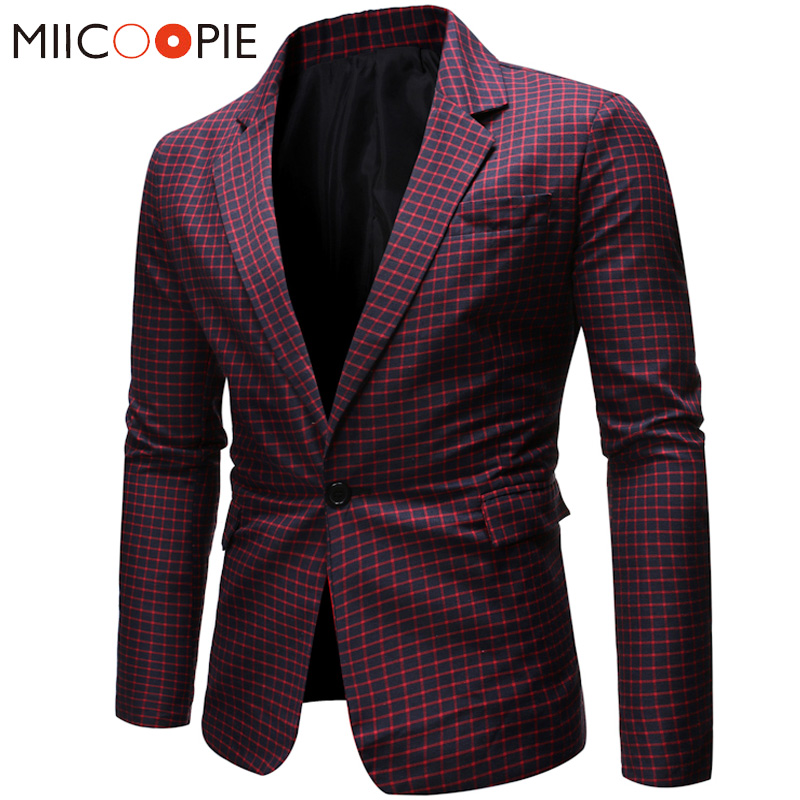 Blazer For Men 2019 Fashion Brand Plaid Dress Suit Jacket Blazer Masculino Slim Fit One Button Wedding Mens Veste Costume Homme