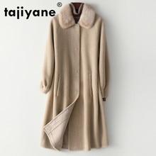 Abrigo de otoño invierno ropa de mujer 2020 abrigo de piel Real Cuello de piel de visón chaqueta de lana coreano Vintage de oveja vaporosa Forro de gamuza 3756