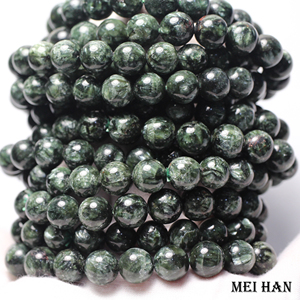 Image 1 - Natural A+ russian seraphinite bracelet 8 8.8mm (1 bracelet/set) smooth round stone wholesale beads for jewelry DIY design