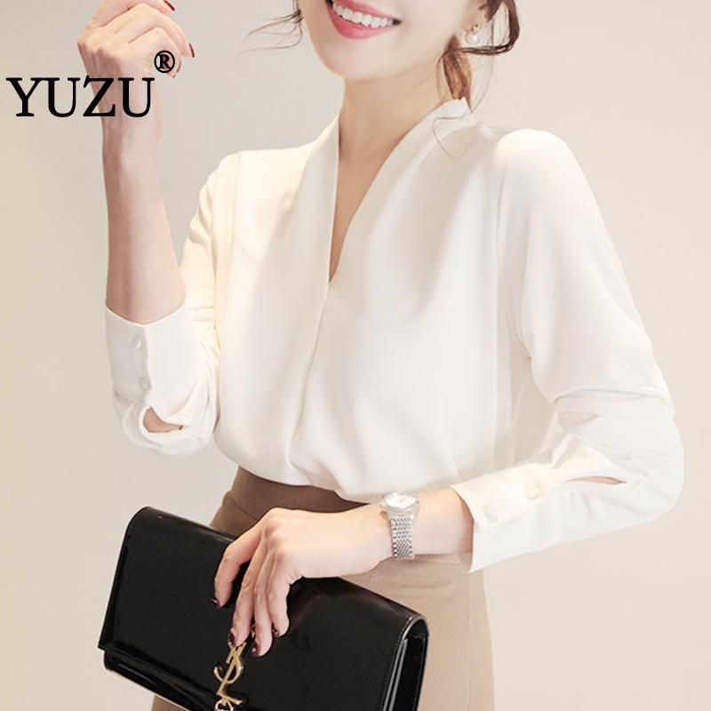 Blouse Women White Chiffon Tops Korean Fashion Clothing New Arrival 2019 V Neck Long Sleeve Plus Size Office Elegant Blouse in Blouses amp Shirts from Women 39 s Clothing