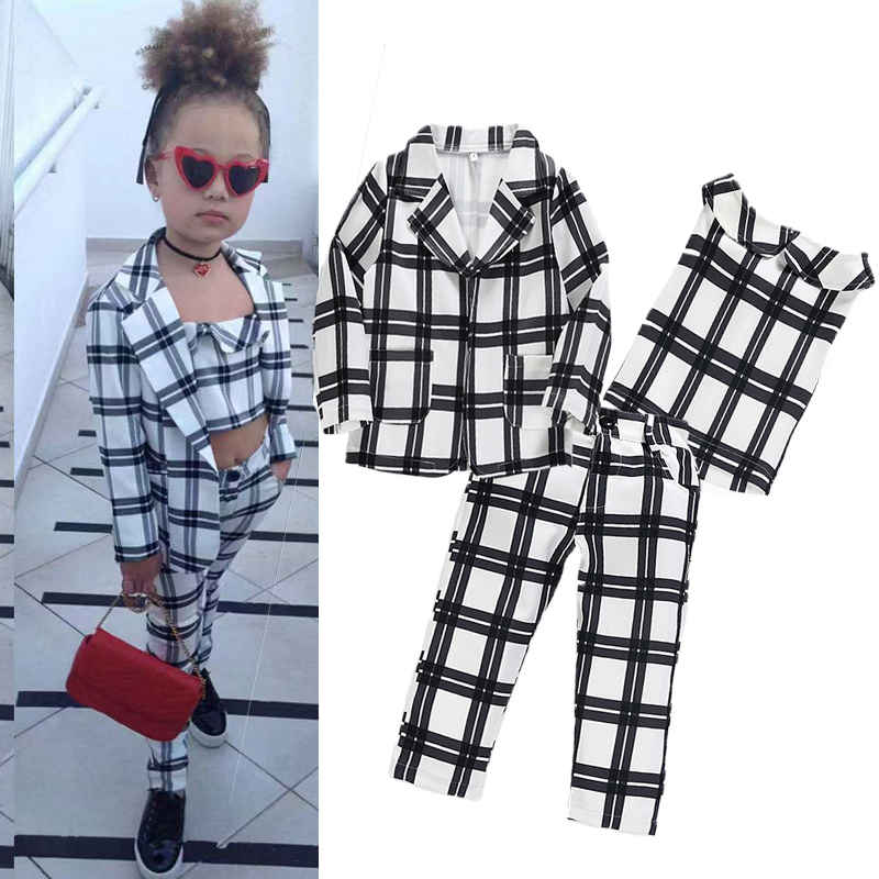 2019 New Arrival Girls Fashion INS Clothes Suit Jacket Vest Pants 3 Piece Set Princess Chiffon Suit For Girls 2-7 Years Old