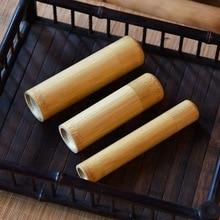Коробка для хранения чая, ручная работа, натуральная чайная банка, держатель для хранения, деревянный контейнер с крышкой, портативный, 1 шт., круглая форма, бамбук