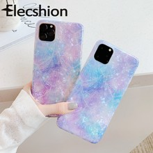 Purple Color Case For iPhone 11 Pro Glossy Cover Max Soft Tpu Cute Marble Coque Shell Capa