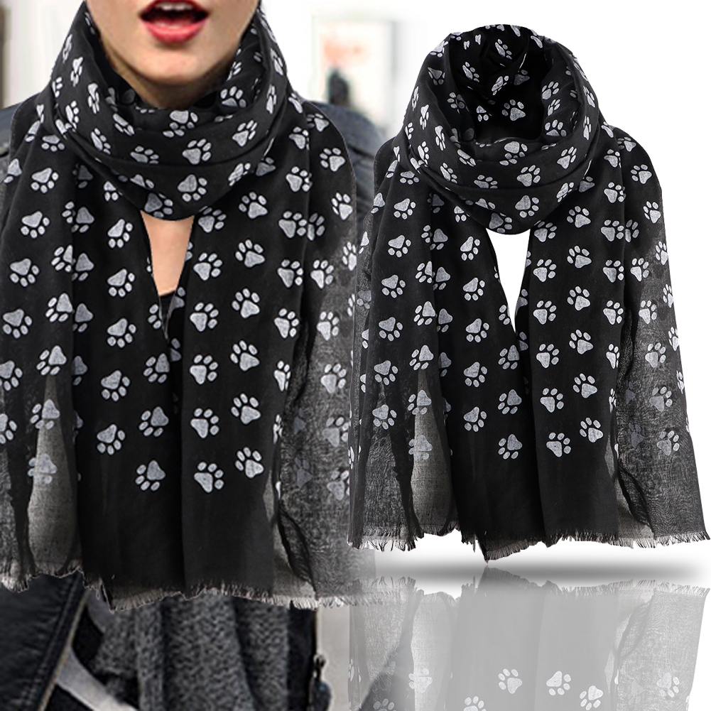 Autumn Paw Printed Women   Scarf   Winter Cute Fashion Daily Gift Dress Up   Wrap   Soft Casual Ladies Neck Warmer Outdoor Scarfs