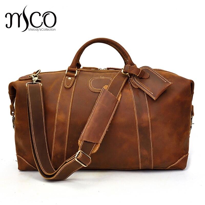 Men Genuine Leather Travel Duffel 24