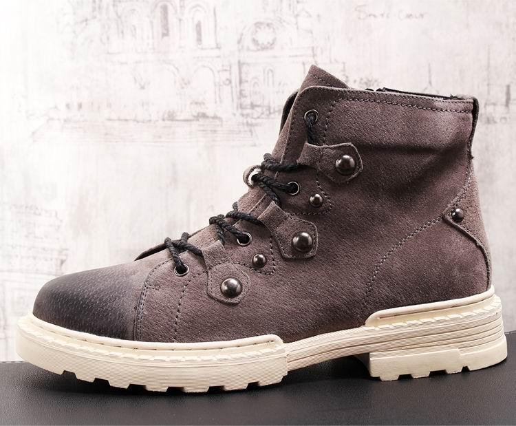 Estilo europeu dos homens preto botas casuais moda rebites foward porco camurça homem botas de tornozelo curto laço acima sapatos de segurança trabalho - 4