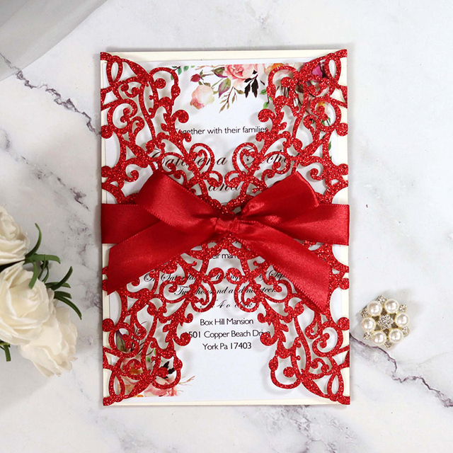 100pcs Glitter Paper Laser Cut Wedding Invitation Card With Ribbon Personalized Greeting Card Business Card Decor Party Supplies