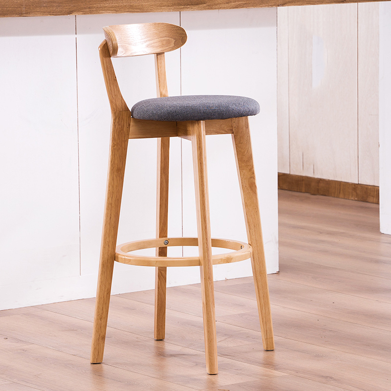 Nordic Bar Stools Solid Wood High Stool Modern Minimalist High Back Stool Bar Stool Consumer Commercial Lounge Chair