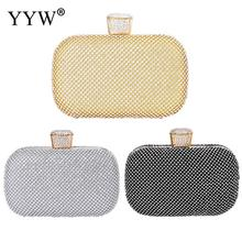YYW Gold Silver Rhinestone Crystal Clutch Purse Pochette Femme Women Evening Bag For Bridesmaid Wedding Party Small