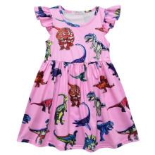 Oecanleap Little Girls Dresses Summer Children Cartoon Dinosaur Printing Sleeveless Dress 2-7 Year Old Baby Girl Party Dress цена в Москве и Питере