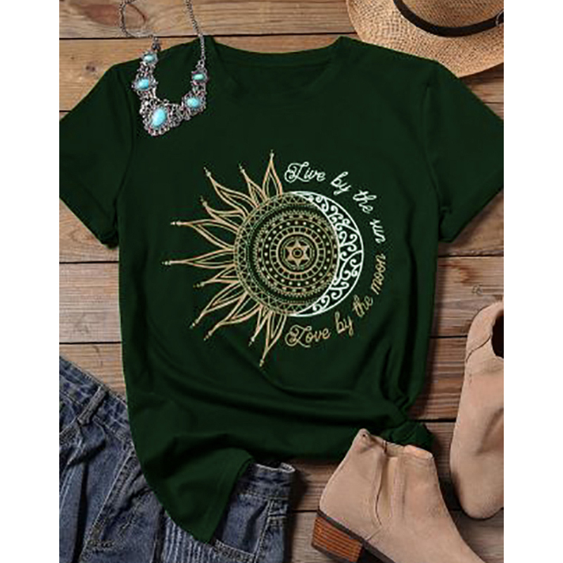 2020 women casual fashion t-shirt letter sun moon print loose o-neck short sleeve elastic stretched tshirt summer tops new 1