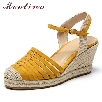 Meotina Espadrille Wedge High Heels Shoes Slingbacks Pumps Women Kid Suede Round Toe Shoes Lady Summer Party  Footwear Yellow