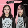 Pink and Black Wig Long Straight hair Cosplay Wig Two Tone Ombre Color Women Synthetic Hair Wigs 4