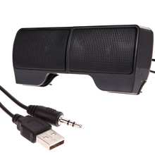 Mini Portable USB Stereo Speaker Soundbar for Notebook Laptop Mp3 Phone PC Clip-on Two Stereo Speaker 3.5mm audio jack