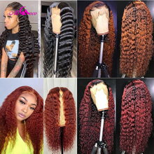 Ali Coco 13x4 Deep Wave Human Hair Lace Front Wigs 1B/350 /O
