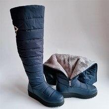 Para baixo quente botas de neve alta mulher 2020 sapatos de inverno plataforma feminina sobre o joelho botas moda pele à prova de água botas senhoras