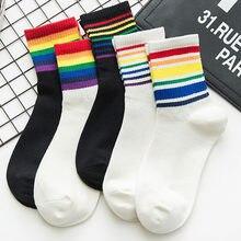 Moda coreana inverno novo unisex algodão arco-íris listrado meias de natal moda quente chrismas meias de algodão feminino coreano