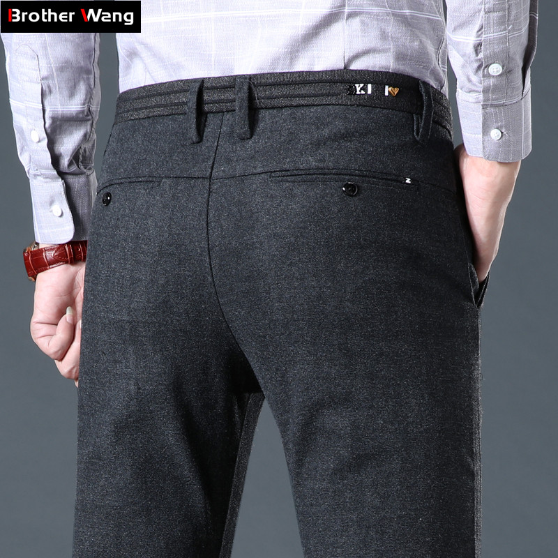 2019 Autumn And Winter New Men's Thick Casual Pants Business Fashion Slim Fit Trousers Brand Black Navy Dark Gray