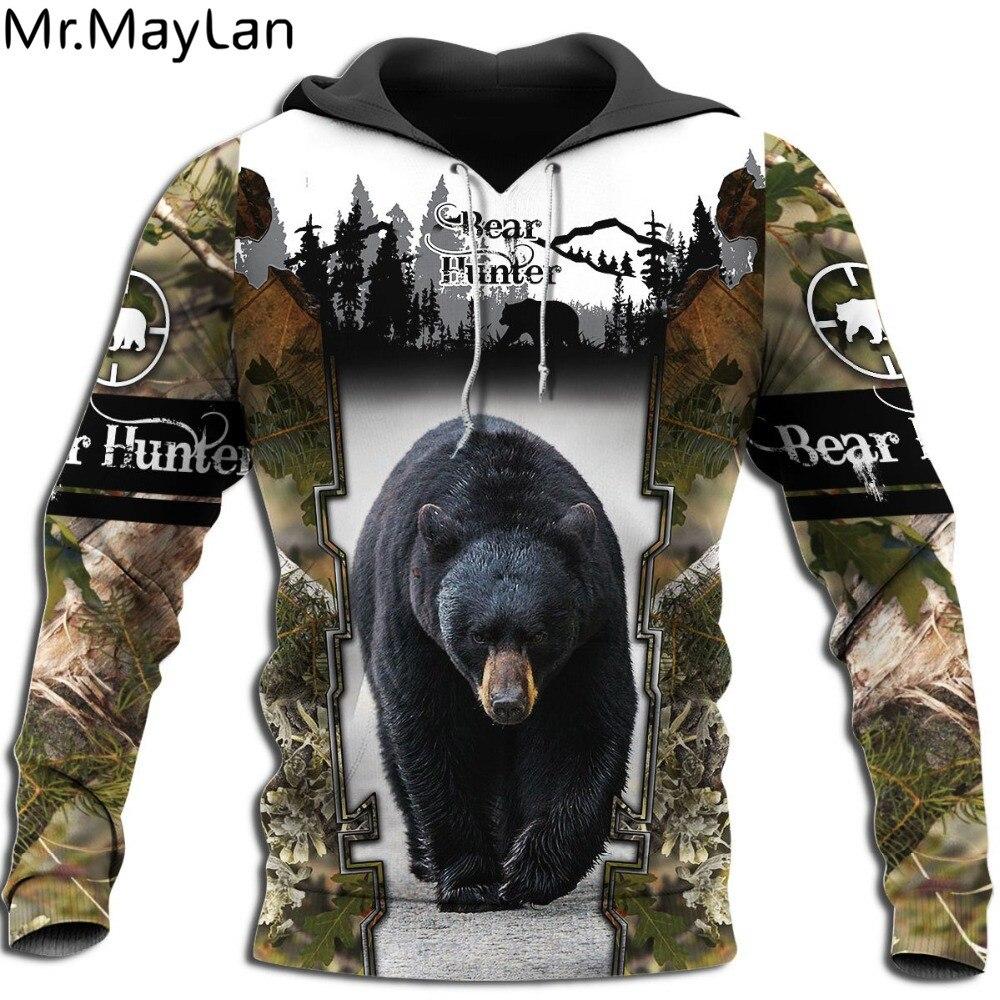 Custom Black Bear Hunter Men's Hoodie 3D Printed Jacket Men Women Harajuku Style Hoodies Casual Streetwear Sweatshirt Drop Ship