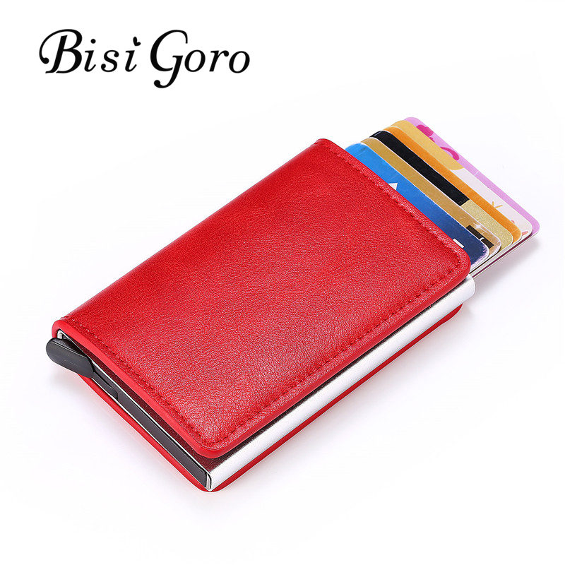 BISI GORO 2019 Slim RFID Wallet Business Card Holder Hasp Aluminum Credit Card Wallet  Metal Credit Mini Smart  Men Purse