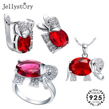 Jewelry-Set Ring Necklace Pendant Ruby Gemstones 925-Sterling-Silver Women Fashion Jellystory