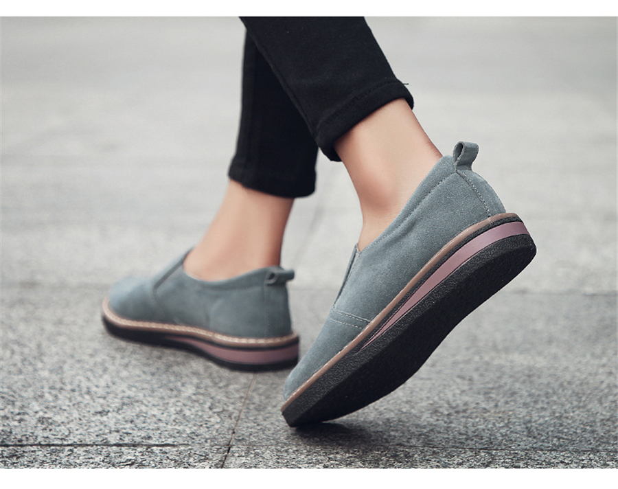 STS BRAND 2019 New Spring Women Flats Sneakers Suede Leather Round Toe Shoes Casual Shoes Women Slip On Flat Loafers Fazz Oxford (8)