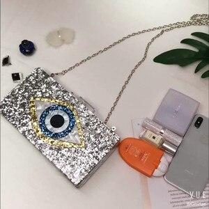 Image 3 - אופנה מותג אקריליק תיק מבריק עין ערב מצמדי נשים שרשרת כתף שליח תיק נצנצים מסיבת חתונה לנשף תיקי ארנק