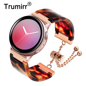 Ремешок из смолы и нержавеющей стали для samsung Galaxy Watch 42 мм/Active 2 40 мм 44 мм/S2 классический ремешок из розового золота для женщин