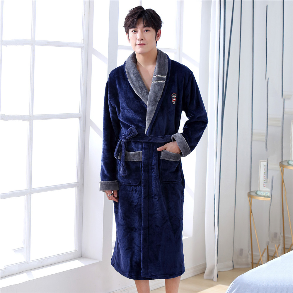 Male Sleepwear Kimono Bathrobe Gown Coral Fleece Solid Colour Intimate Lingerie V-neck Home Dressing Gown Home Clothing