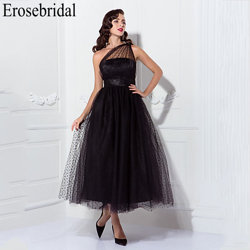 Erosebridal One Shoulder Black   Evening     Dress   Long 2019 Elegant Long Formal   Dresses     Evening   Gown for Women Side Zipper
