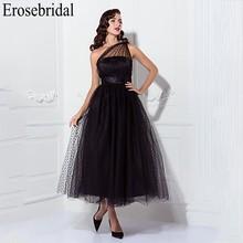 Erosebridal jedno ramię czarny suknia wieczorowa długa 2019 eleganckie długie suknie galowe suknia wieczorowa dla kobiet z boku na zamek błyskawiczny