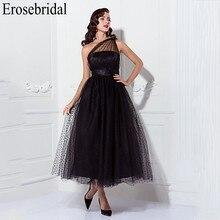 Женское длинное вечернее платье Erosebridal, Черное длинное официальное платье на одно плечо с боковой молнией, лето 2019