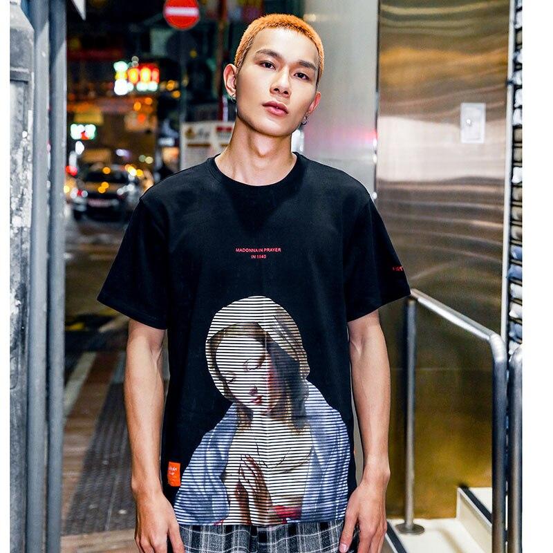 Image 5 - Мужская футболка в стиле хип хоп, хлопковая футболка с коротким рукавом и винтажным принтом, 2019Футболки   -