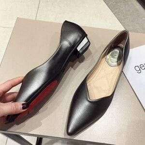 Image 1 - 2020 najnowszy szary podstawowe damskie płaski baleriny buty szpiczasty nosek wiosna jesień kobieta mokasyny na co dzień miękkie panie pracują pojedyncze buty