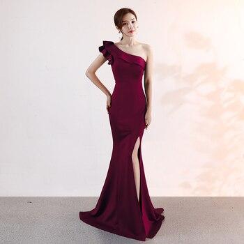 One Shoulder Evening Dress Sleeveless Elegant Floor Length Mermaid Long Party Gowns Zipper Split Ladies Solid Sexy Robes Elegant