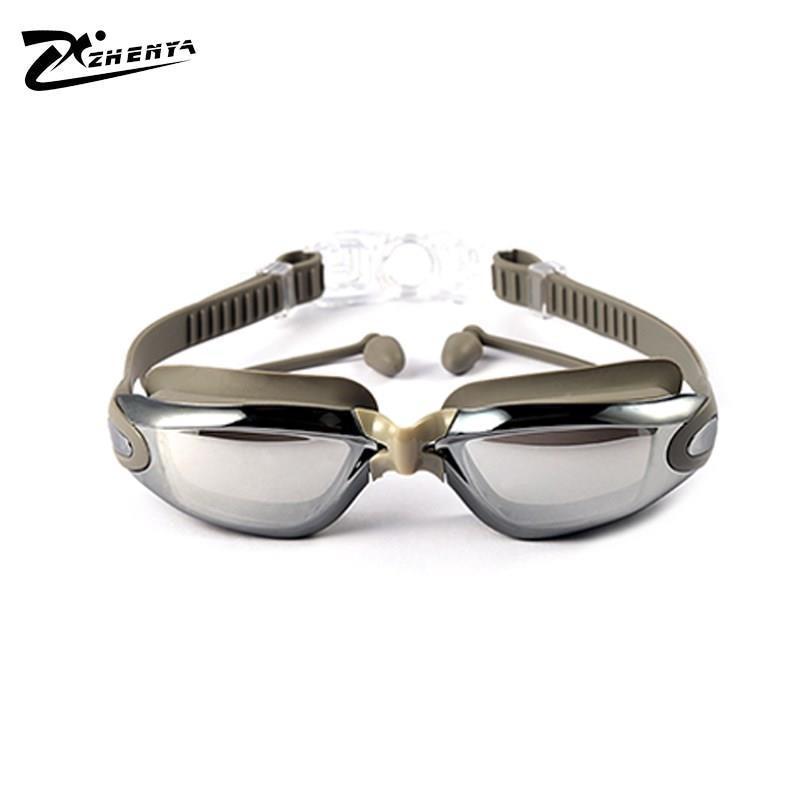 Gafas para adultos, Universal, resistente al agua, Anti-Niebla, tapón de oído de una pieza, gafas de natación de vidrio liso de miopía electrochapadas