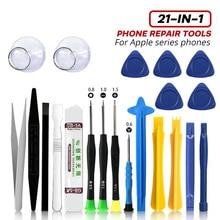 Herramientas de reparación de teléfonos móviles, juego de destornilladores 21 en 1 para iPhone X, 8, 7, 6, Spudger, herramienta de apertura, pinzas, accesorios para teléfonos móviles