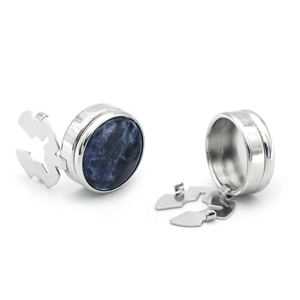 Silver Round Blue Gem Cufflinks Business Wedding for Suit Shirt  Men/'s Buttons