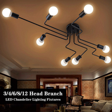 Araña de techo LED 220V múltiples varilla de hierro forjado moderno Plafondlamp E27 nórdica Vintage techo de Loft Industrial lámparas