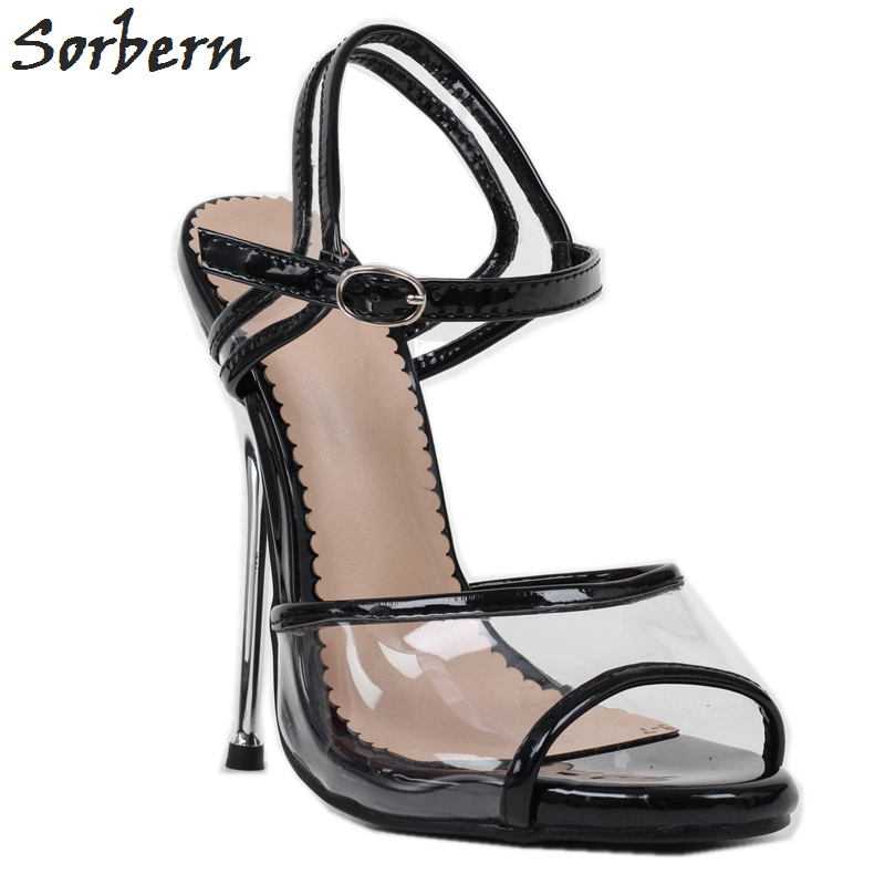 Sorbern Black Patent Clear Plastic Sandals Metal High Heels Stilettos Black Heels Women Slides 14Cm Summer Sandal Custom Colors