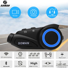 SOMAN Bluetooth Motorrad Headset HD Kamera Vedio Recorder Sechs Reiter Gegensprechanlage Helm Bluetooth Headset Cascos Inalambricos M3