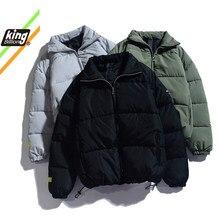 KB-Parkas de colores sólidos para hombre, chaqueta gruesa y cálida de marca de calidad, abrigo de Parka informal a la moda, novedad, Invierno