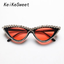 KeiKeSweet Top Brand Designer Crystal Cat Eye Sunglasses Women Rhinestone Vintage Party Sexy Rays UV400 Sun Glasses Fashion Cool(China)