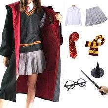 Disfraz de Harry Potter para niños y adultos, Túnica de capa de Cosplay con pañuelo para Lazo, camisa, vestido, sombrero, disfraz de Halloween Ravenclaw