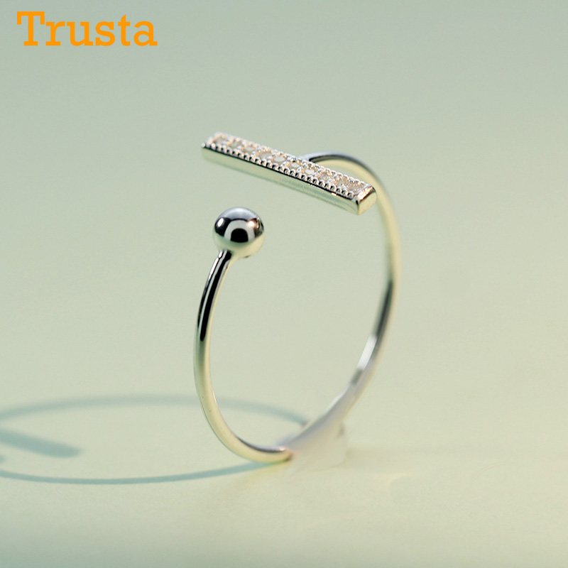 Trustdavis 100% 925 Sterling Silver Fashion Stick CZ And Ball Cocktail Ring Sizable For Women Wedding Party Jewelry DA208
